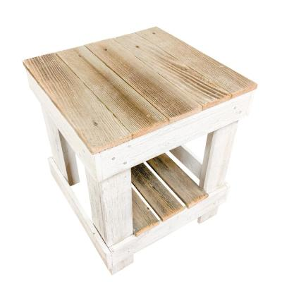Natural/White Reclaimed Wood End Table