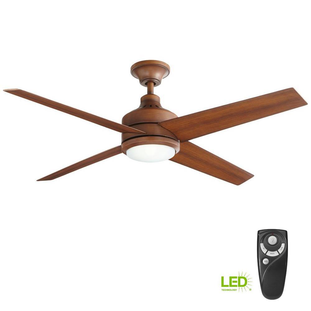 Mercer 52 in. LED Indoor Distressed Koa Ceiling Fan with Light