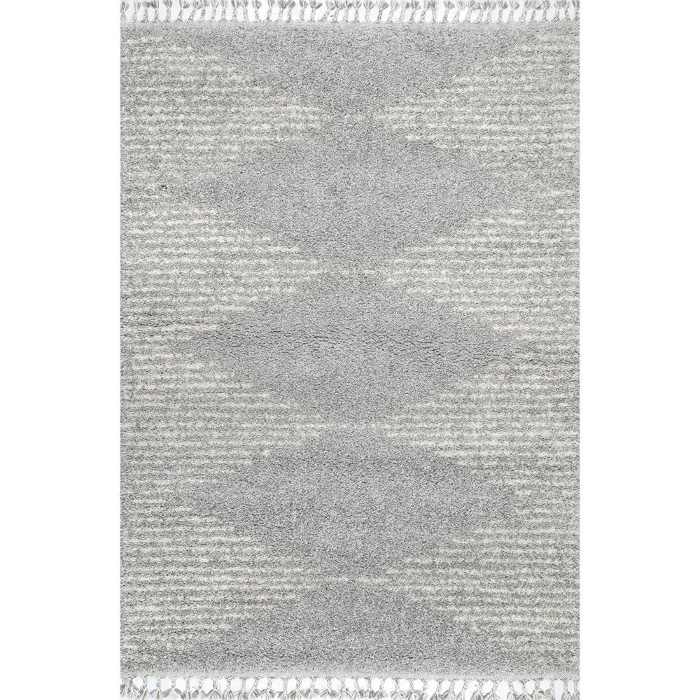 Bria Moroccan Diamond Shag Gray 2 ft. x 3 ft. Area Rug