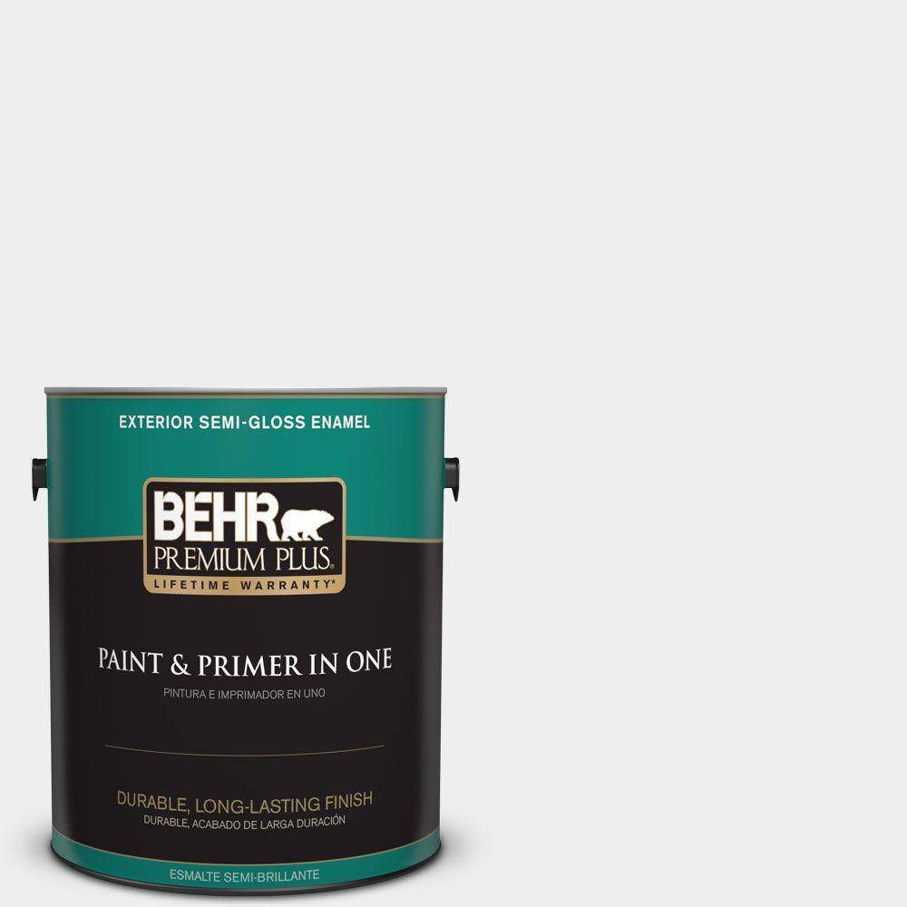 BEHR Premium Plus 1-gal. #W-D-610 White Glove Semi-Gloss Enamel Exterior Paint