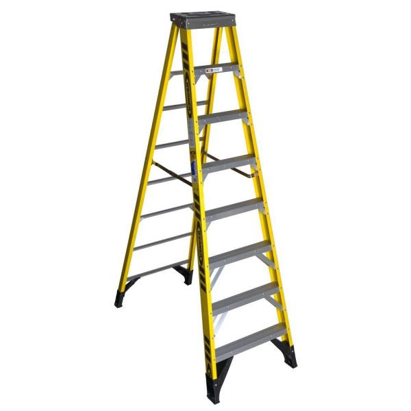 8 ft. Yellow Fiberglass Step Ladder with 375 lb. Load Capacity Type IAA Duty Rating