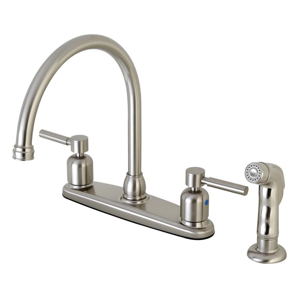 Kingston Brass Modern 2-Handle High Arc Standard Kitchen Faucet with ...