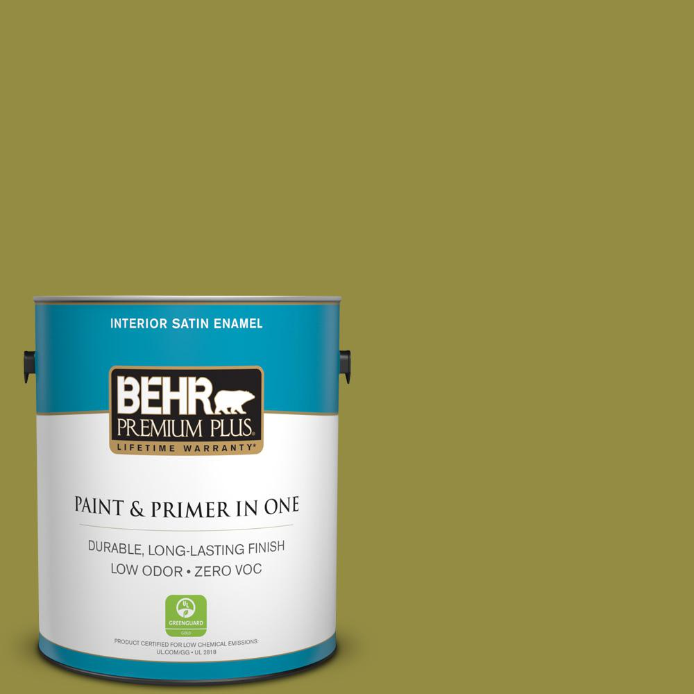 1 gal. #PPU9-03 Retro Avocado Zero VOC Satin Enamel Interior Paint