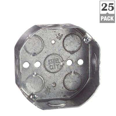 4 in. 15.8 cu. in. New Work Metal Octagon Ceiling Electrical Box (Case of 25)