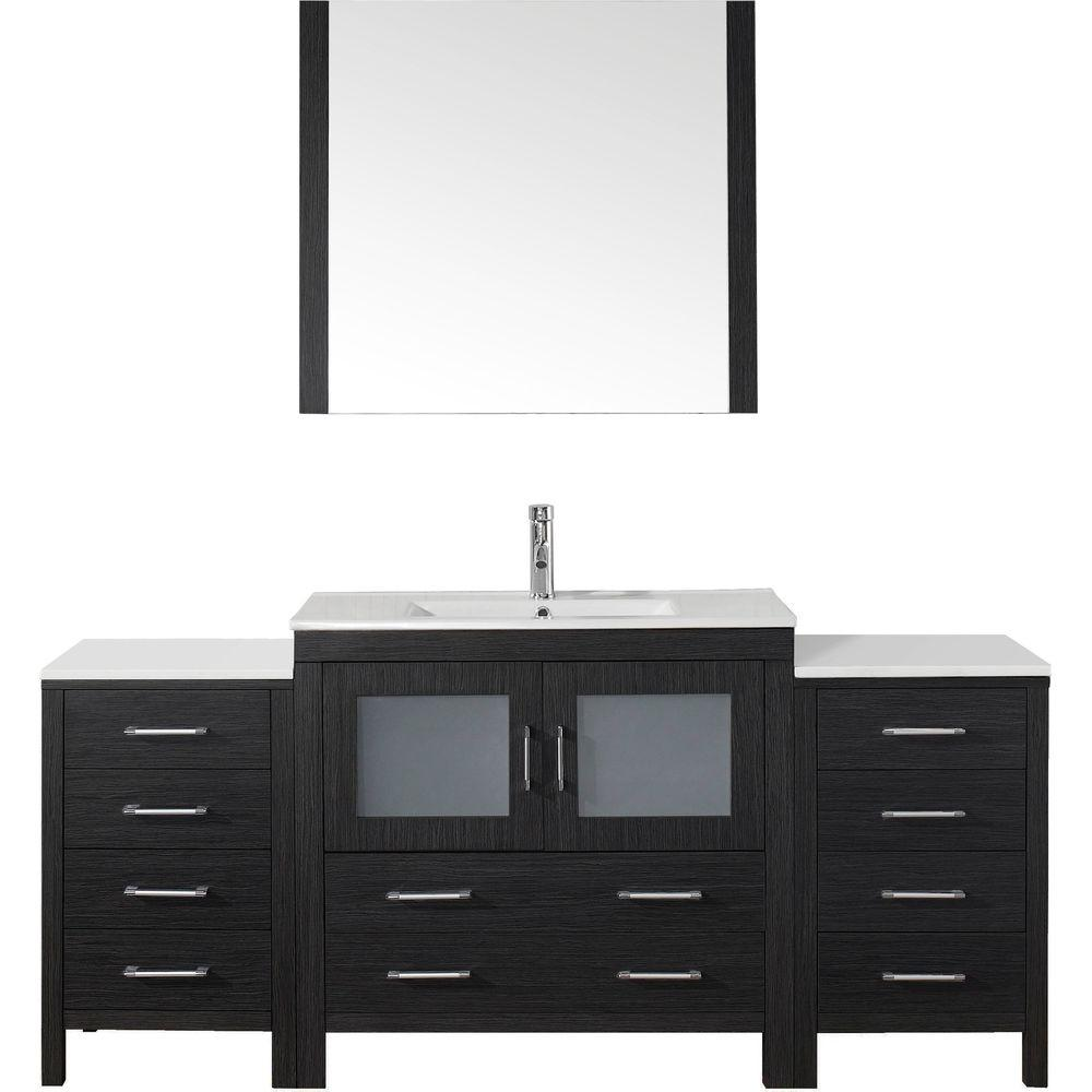 Virtu USA Dior 73 in. W Bath Vanity in Zebra Gray with Ceramic Vanity Top in White with Square Basin and Mirror and Faucet