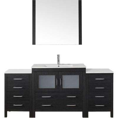 Dior 73 in. W Bath Vanity in Zebra Gray with Ceramic Vanity Top in White with Square Basin and Mirror and Faucet