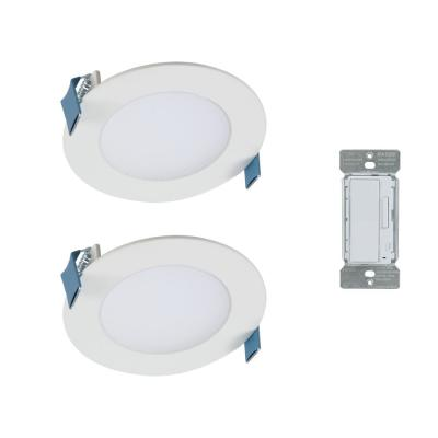 4 in. Color Selectable New Construction or Remodel Canless Recessed Integrated LED Kit(2-Pack) with In-Wall Smart Dimmer