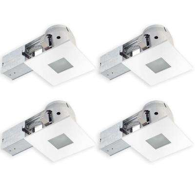 4 in. Square Matte White Recessed Bathroom Kit with Frosted Glass (4-Pack)