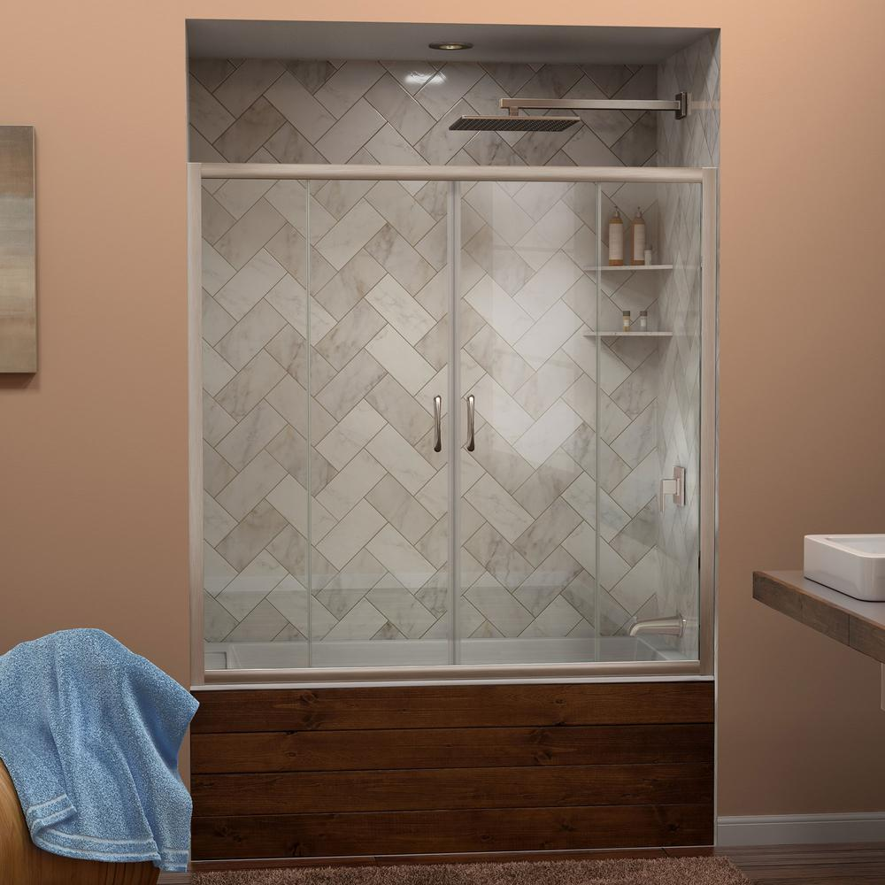 W X 58 In. H Semi Frameless Sliding Tub Door In Brushed  Nickel SHDR 1160586 04   The Home Depot