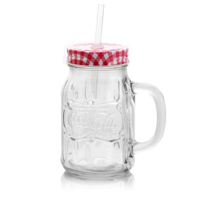Country Classic 20 oz. Glass Mason Jar with Lid & Straw