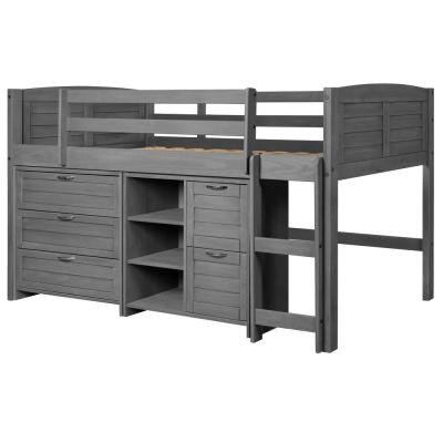 Antique Grey Twin Louver Low Loft Bed with 3 and 2-Drawer Chests