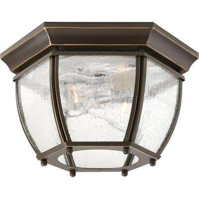 Progress Lighting Roman Coach Collection 2-Light Antique Bronze Clear Seeded Glass Traditional Outdoor Close-to-Ceiling Light