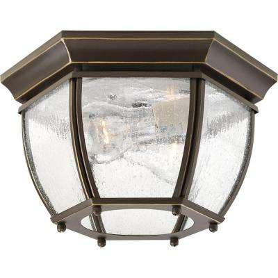 Roman Coach Collection 2-Light Antique Bronze Outdoor Flushmount