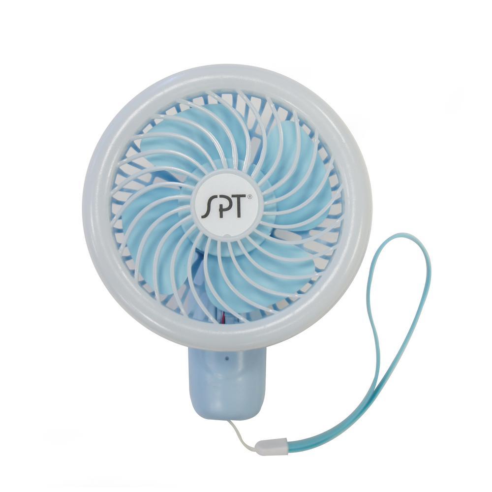 4.75 in. Handheld LED Personal Fan in Blue