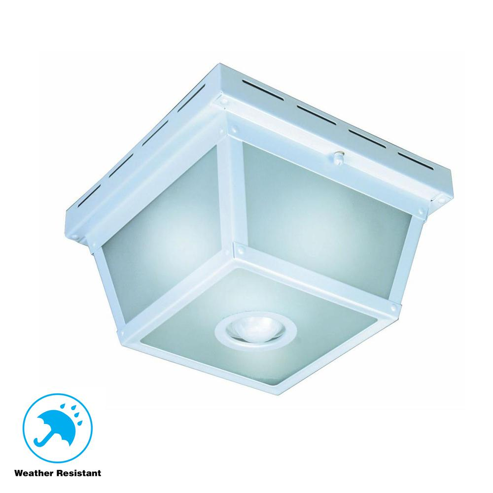 Hampton bay 360 degree square 4 light white motion sensing outdoor flush mount
