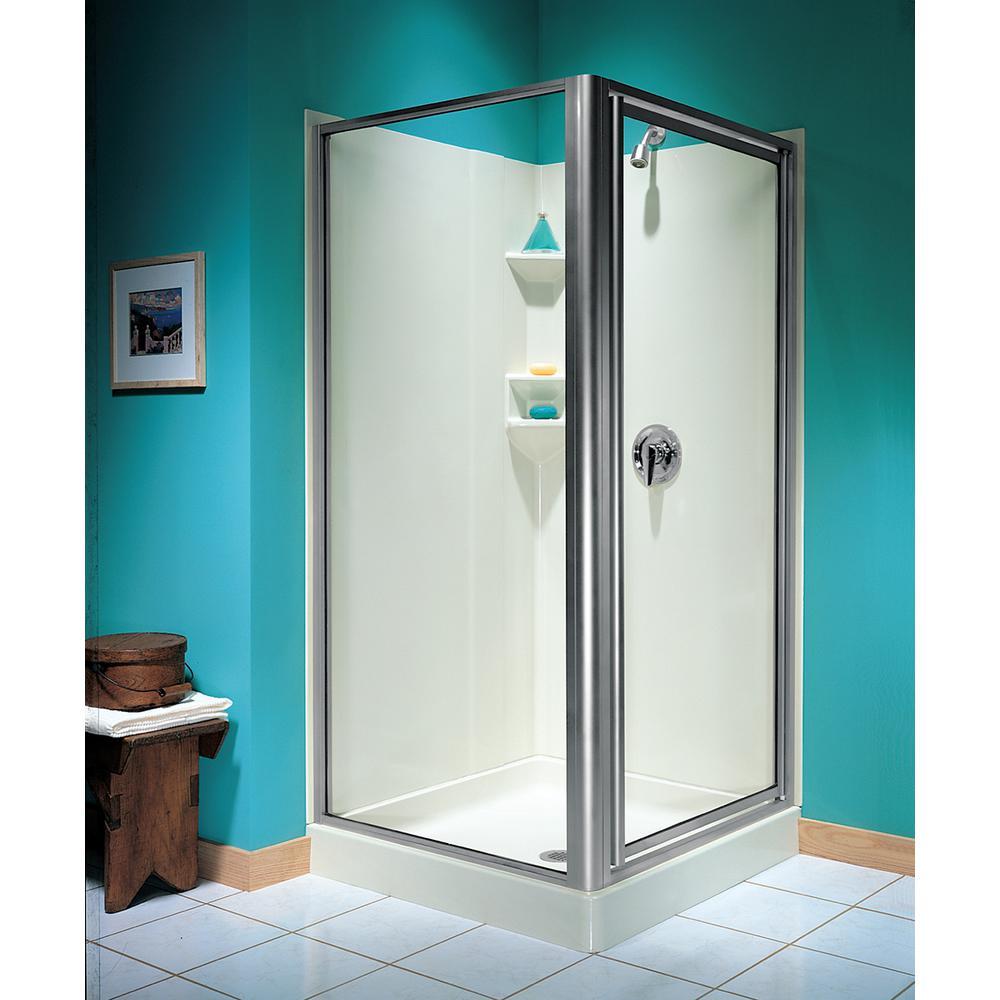 36 in. x 70 in. Double Threshold Framed Pivot Shower Door in Chrome