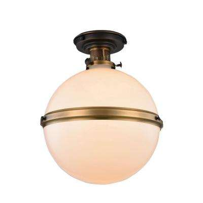 Santos 1-Light Bronze and Burnished Brass Flush Mount