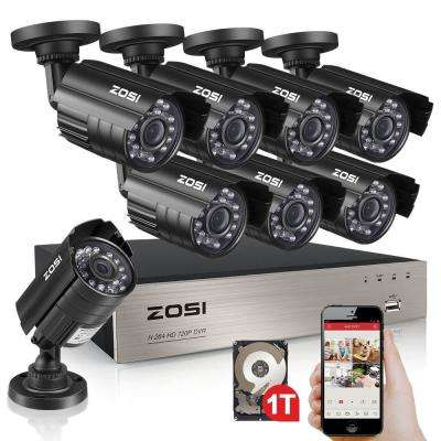 8-Channel 720p 1TB Hard Drive DVR Security Camera System with 8 Wired Bullet Cameras
