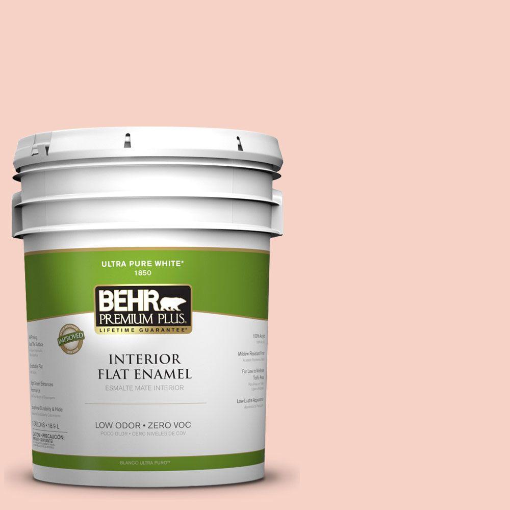 BEHR Premium Plus 5-gal. #210C-2 Demure Pink Zero VOC Flat Enamel Interior Paint-DISCONTINUED