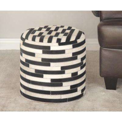 16 in. x 16 in. Leather and Wood Round Stool with Black and White Rectangular Patterns