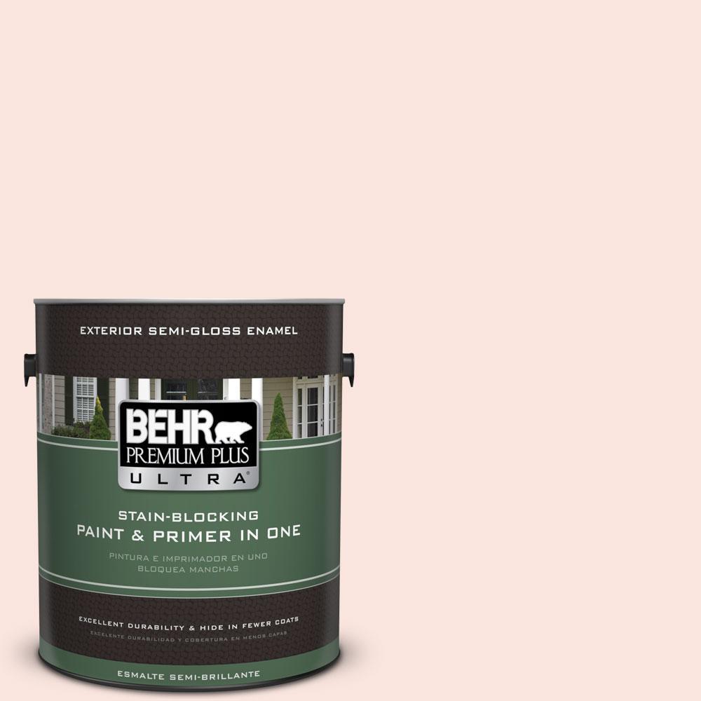 BEHR Premium Plus Ultra 1-gal. #180A-1 Cloud Pink Semi-Gloss Enamel Exterior Paint, Reds/Pinks