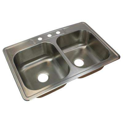 Classic Drop-In Stainless Steel 33 in. 3-Hole 50/50 Double Bowl Kitchen Sink in Brushed Stainless Steel