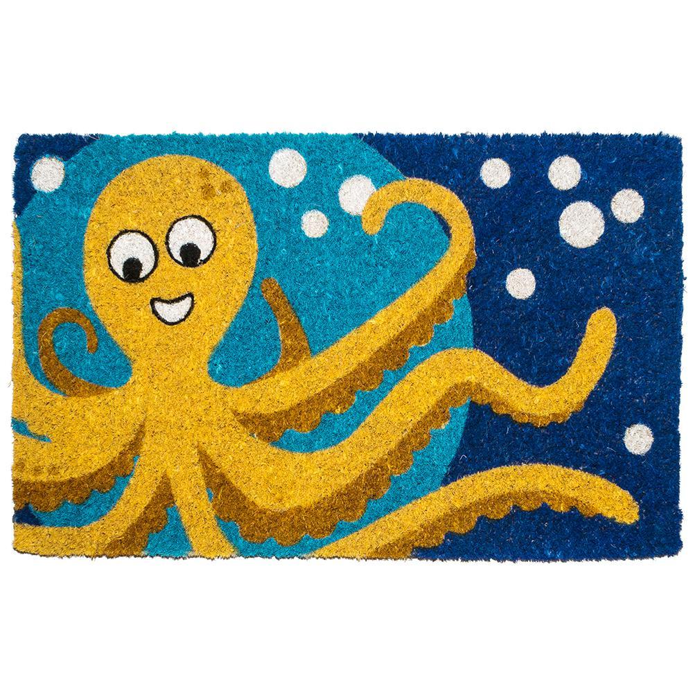 Octopus 18 in. x 30 in. Hand Woven Coconut Fiber Door Mat