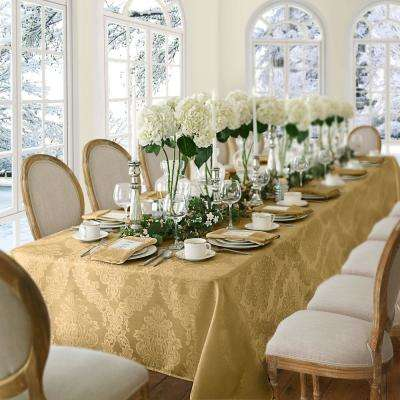 60 in. W x 144 in. L Gold Elrene Barcelona Damask Fabric Tablecloth
