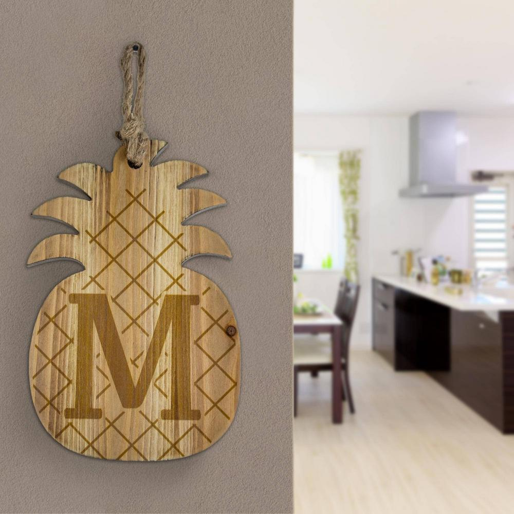 Crystal Art Gallery Wood Pineapple Hanging Initial Wall Letter M