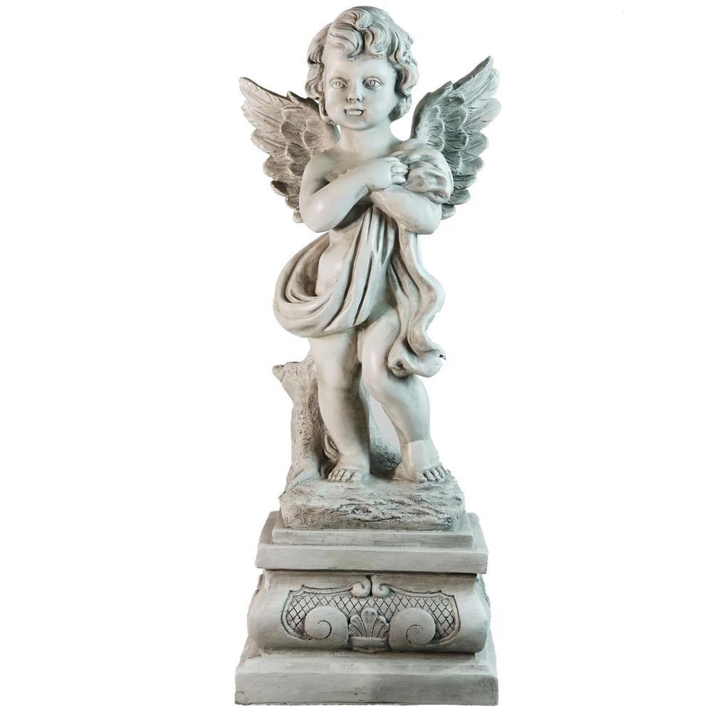 10.75 in. Standing Cherub Angel on Pedestal Outdoor Garden Statue