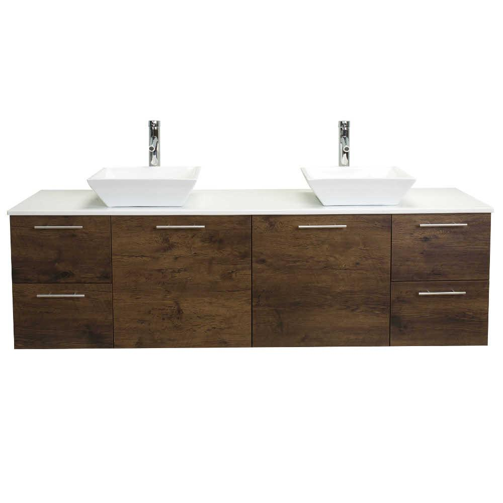 Eviva Luxury 72 in. W x 21 in. D x 26 in. H Vanity in Rosewood with Glassos Vanity Top in White with White Double Basin