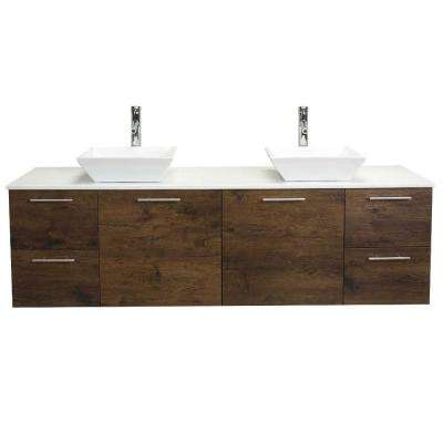 Luxury 72 in. W x 21 in. D x 26 in. H Vanity in Rosewood with Glassos Vanity Top in White with White Double Basin