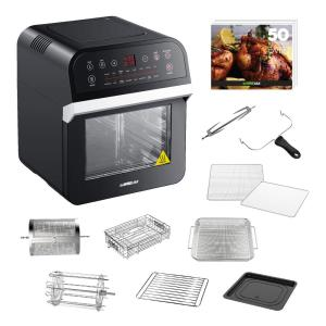 12.7 Qt. Black Rotisserie Oven and Air Fryer with Recipe Book