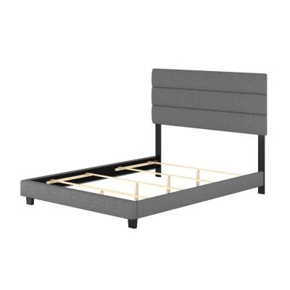 Vivian Grey Linen Full Upholstered Platform Bed Frame