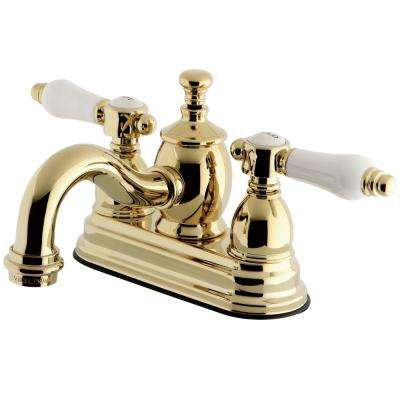 French Porclain 4 in. Centerset 2-Handle Mid-Arc Bathroom Faucet in Polished Brass