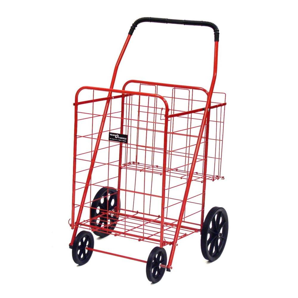Easy Wheels Jumbo Plus Shopping Cart in Red The Easy Wheels Jumbo Plus Shopping Cart has been the industry's premier cart with industrial strength for home use. When lying down, with the cart folded, the highest measurement is the wheels with a 9.75 in. Dia giving an incredible amount of convenience in a compact size. This model has an extra basket for additional storage.