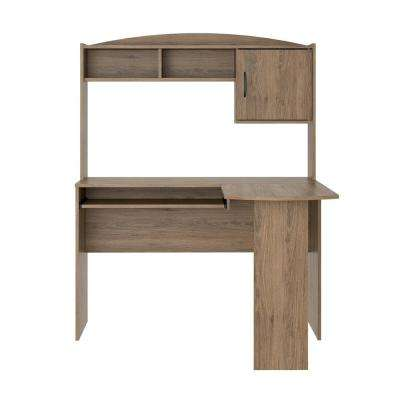 L Shaped Rustic Oak Desk With Hutch