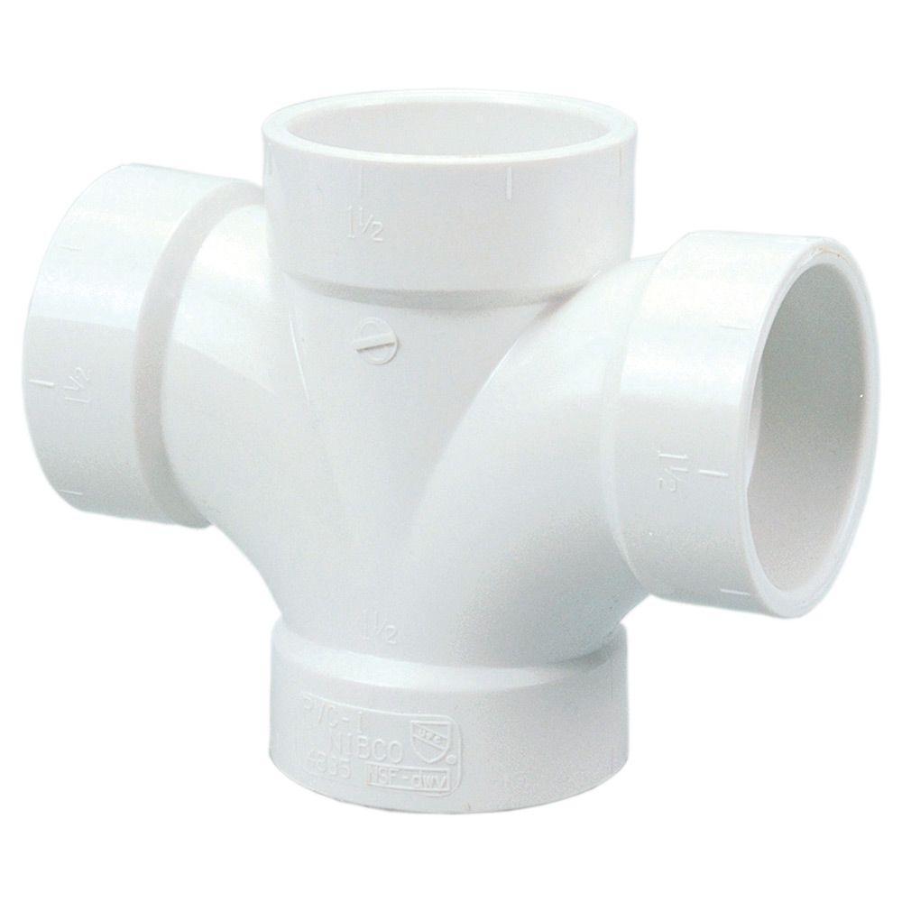 null 2 in. PVC DWV H x H x H x H Double Sanitary Tee