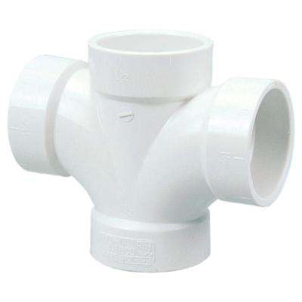2 in. x 1-1/2 in. PVC DWV H x H x H x H Double Sanitary Tee