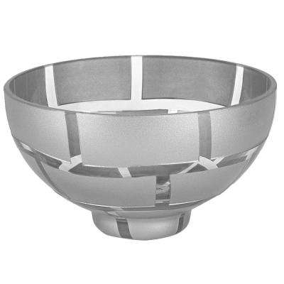 7 in. Silver Wall Mouth Blown European Lead Free Crystal Bowl