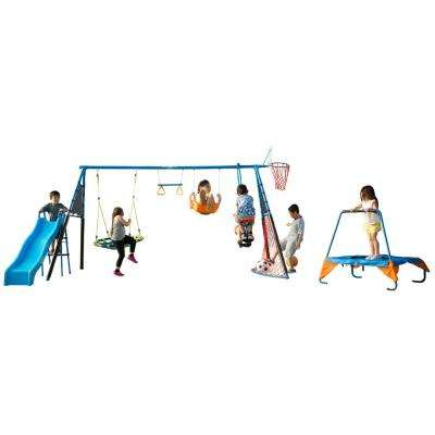 The Ultimate 8-Station Sports Series Metal Swing Set with Basketball and Soccer