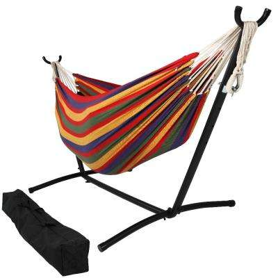 10.5 ft. Fabric Cotton Double Brazilian Hammock with Stand Combo in Tropical