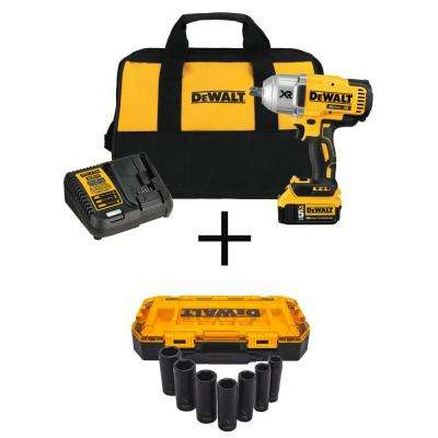 20-Volt MAX XR Lithium-Ion Cordless Brushless 1/2 in. Impact Wrench with Bonus 1/2 in. Deep Impact Socket Set