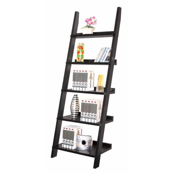 Exhibiting Modern Black Ladder Bookcase with Five Shelves