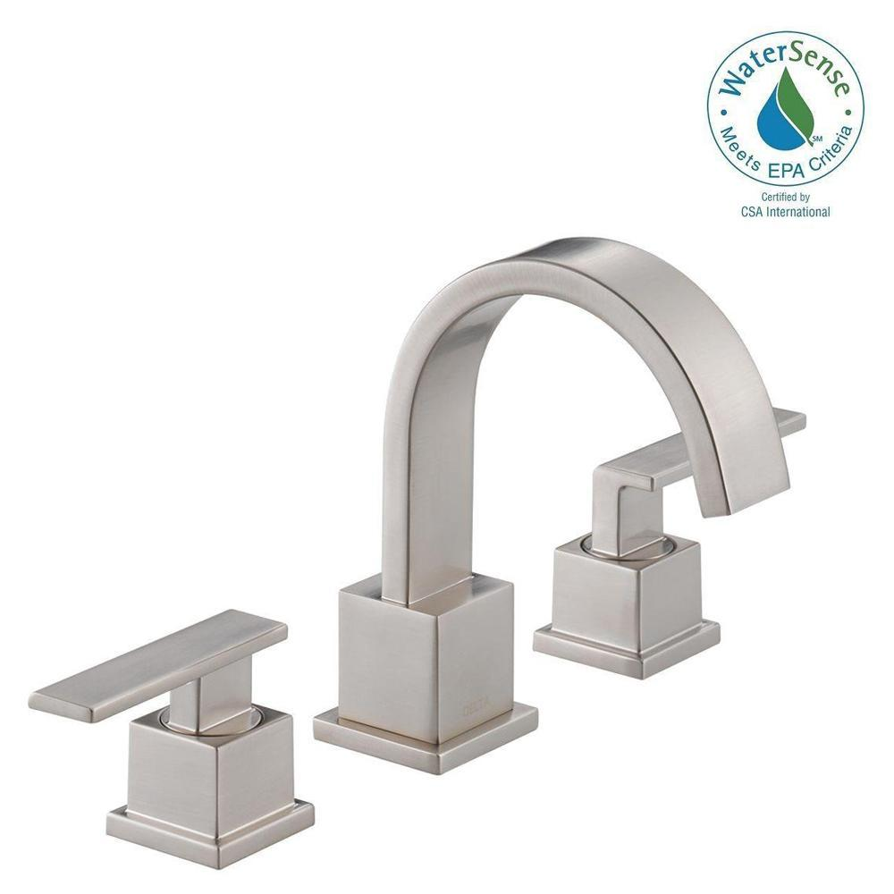 Delta Vero 8 in. Widespread 2-Handle Bathroom Faucet with Metal Drain Assembly in Stainless