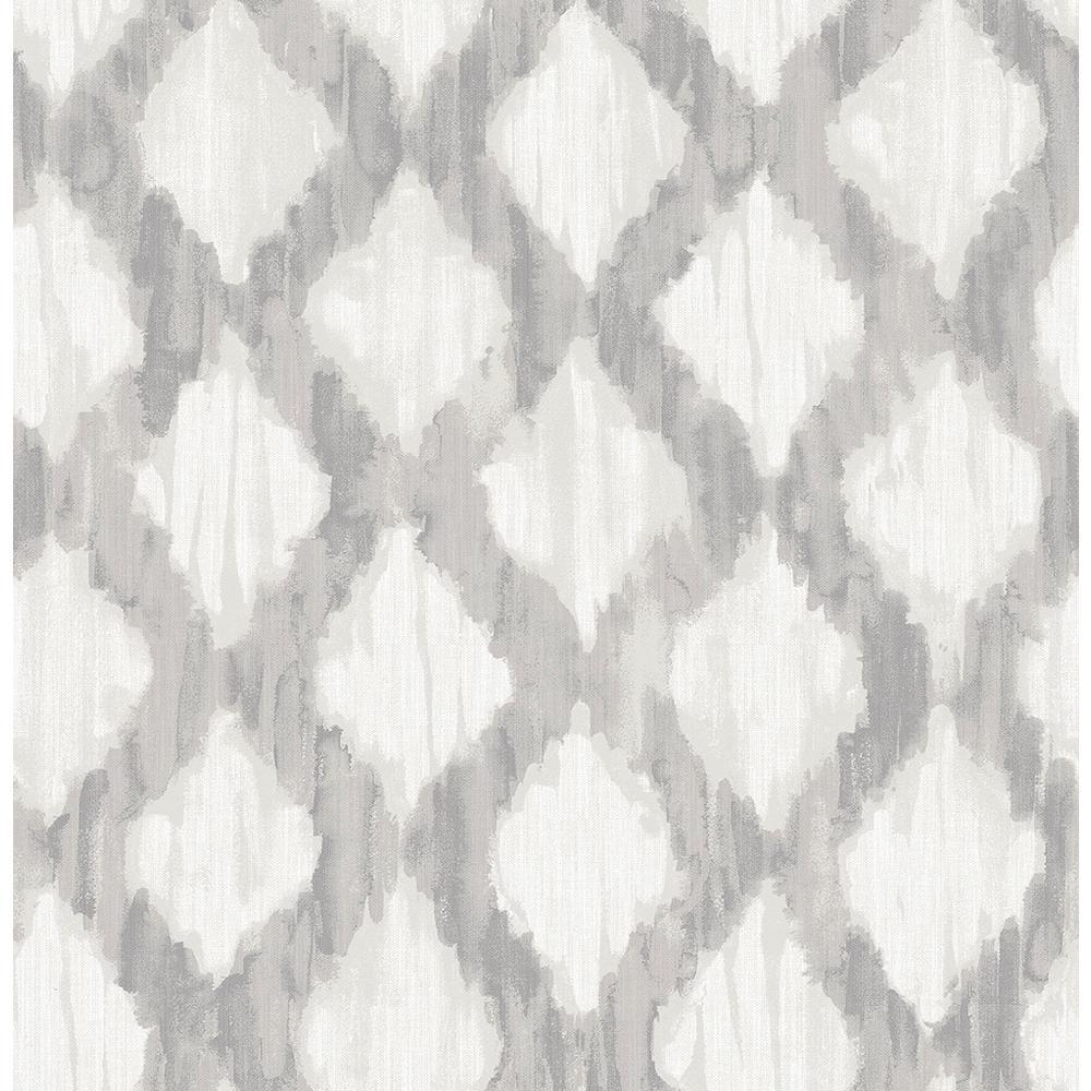 NuWallpaper 8 in. x 10 in. Grey Floating Trellis Peel and