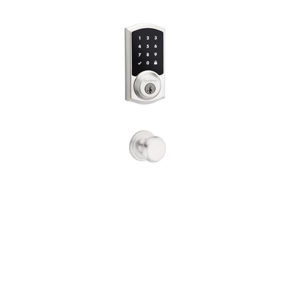Premis Touchscreen Smart Lock Satin Nickel Single Cylinder Electronic Deadbolt featuring Juno Passage Knob