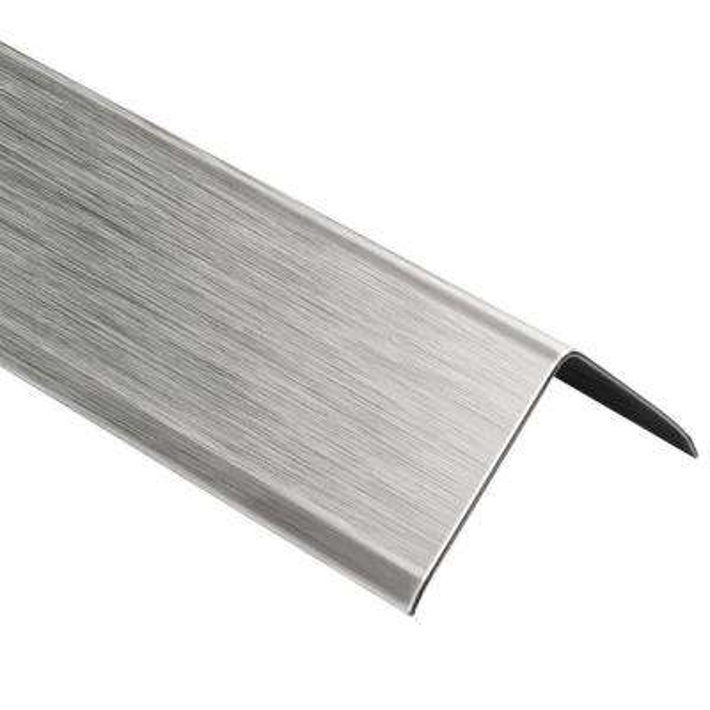 ECK-K Brushed Stainless Steel 1-9/32 in. x 8 ft. 2-1/2 in. Metal Corner Tile Edging Trim