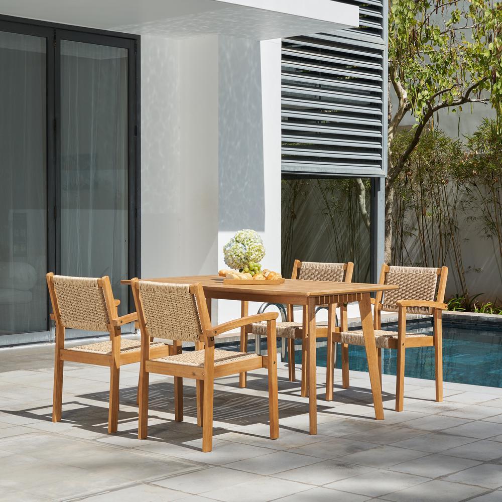 Chesapeake 5-Piece Wood Rectangular Outdoor Dining Set
