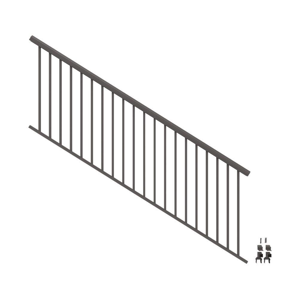 Penrose 8 ft. x 36 in. Matte Bronze Aluminum Decorative Rail Stair Kit